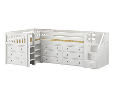 Maxtrix TANDEM Corner Low Loft Bed with Dressers Twin Size White | Maxtrix Furniture | MX-TANDEM1-WX
