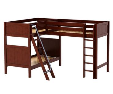 Maxtrix TRIO Corner Loft Bunk Bed Twin Size Chestnut | Maxtrix Furniture | MX-TRIO-CX