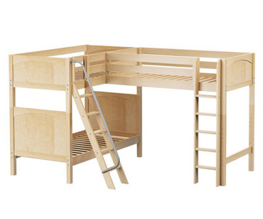 Maxtrix TRIO Corner Loft Bunk Bed Twin Size Natural | Maxtrix Furniture | MX-TRIO-NX