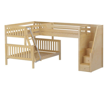 Maxtrix TRIOLOGY Corner Loft Bunk Bed with Stairs Natural | Maxtrix Furniture | MX-TRIOLOGY-NX