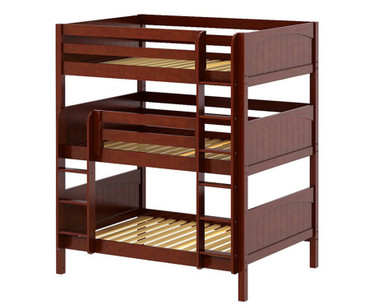 Maxtrix TRIPLEX Triple Bunk Bed Full Size Chestnut | Maxtrix Furniture | MX-TRIPLEX-CX