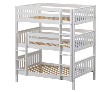Maxtrix TRIPLEX Triple Bunk Bed Full Size White | Maxtrix Furniture | MX-TRIPLEX-WX