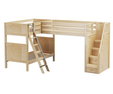 Maxtrix TROIKA Corner Loft Bunk Bed with Stairs Twin Size Natural | Maxtrix Furniture | MX-TROIKA-NX