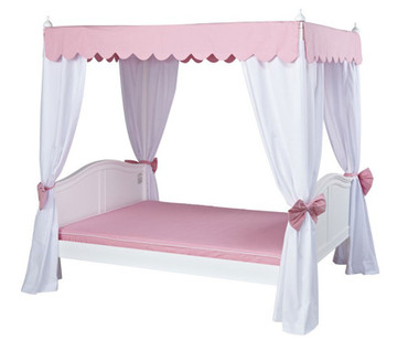 Maxtrix VICTORIA Princess Poster Bed w/ Curtains & Canopy Full Size White | Maxtrix Furniture | MX-VICTORIA3-WX