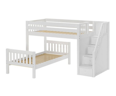 Maxtrix WANGLE L-Shaped Bunk Bed with Stairs Twin Size White | Maxtrix Furniture | MX-WANGLE-WX