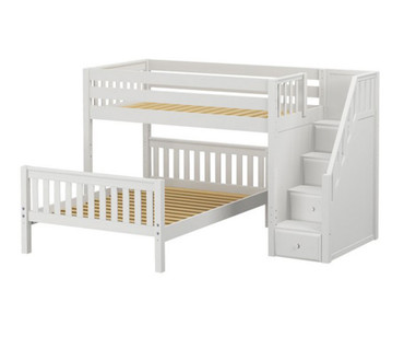 Maxtrix WIGGLE Bunk Bed with Stairs Twin over Full Size White | Maxtrix Furniture | MX-WIGGLE-WX