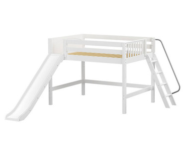 Maxtrix WITTY Mid Loft Bed with Slide Full Size White | Maxtrix Furniture | MX-WITTY-WX