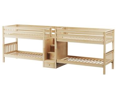 Maxtrix WONDERFUL Quadruple Low Bunk Bed with Stairs Twin Size Natural | Maxtrix Furniture | MX-WONDERFUL-NX