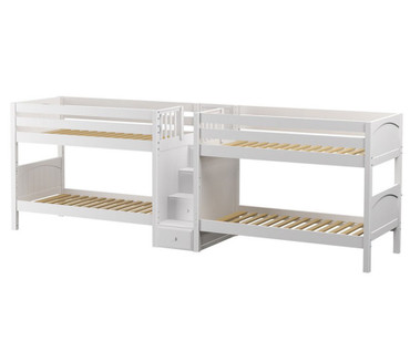 Maxtrix WONDERFUL Quadruple Low Bunk Bed with Stairs Twin Size White | Maxtrix Furniture | MX-WONDERFUL-WX