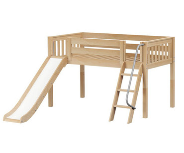 Maxtrix WOW Low Loft Bed with Slide Twin Size Natural | Maxtrix Furniture | MX-WOW-NX