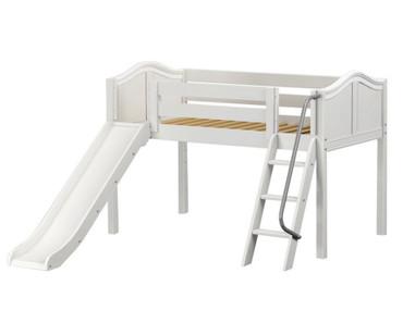 Maxtrix WOW Low Loft Bed with Slide Twin Size White | Maxtrix Furniture | MX-WOW-WX