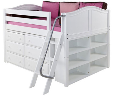 Maxtrix XL Low Loft Bed w/ Dresser & Bookcase Full Size White | Maxtrix Furniture | MX-XL1-WX