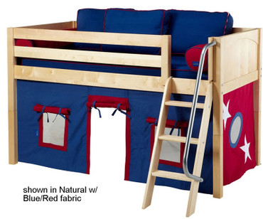 Maxtrix Low Loft Bed Natural with Angled Ladder and Curtains 1 | Matrix Furniture | MXEASYRIDER22N