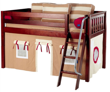 Maxtrix Low Loft Bed Chestnut with Angled Ladder and Curtains 3 | Matrix Furniture | MXEASYRIDER30C