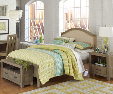 Everglades Bailey Upholstered Bed Full Size Driftwood | NE Kids Furniture | NE10015