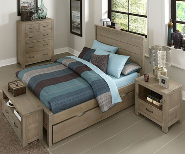 Everglades Alex Panel Bed Full Size with Trundle Driftwood | NE Kids Furniture | NE10025X