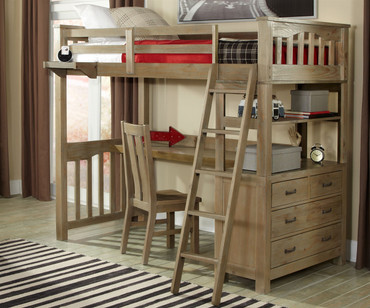 Everglades Loft Bed with Desk Driftwood | NE Kids Furniture | NE10070-Desk