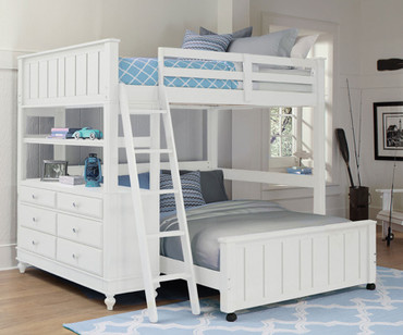 Lakehouse Loft Bed Full Size with Full Size Lower Bed White | NE Kids | NE1045-LWB