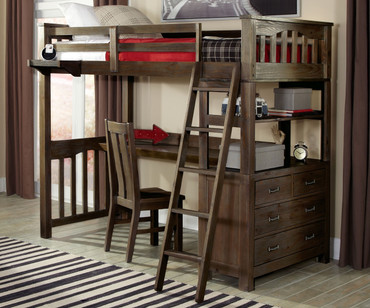 Everglades Loft Bed with Desk Espresso | NE Kids Furniture | NE11070-Desk