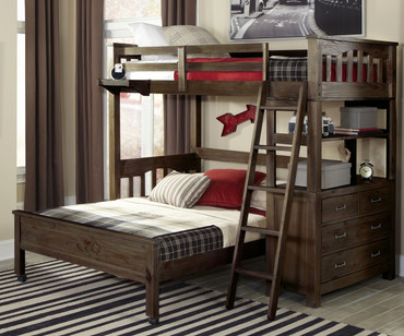 Everglades Loft Bed with Full Size Lower Bed Espresso | NE Kids Furniture | NE11070-LWB