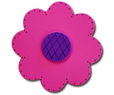 Satin Fuschia Lolli Flower Drawer Pull | One World | OW-DP72074