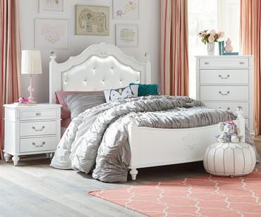 Olivia Upholstered Poster Bed Twin Size | Standard Furniture | ST-938519385293853
