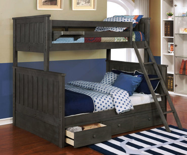 Allen House Brandon Twin over Full Bunk Bed Weathered Dark Gray