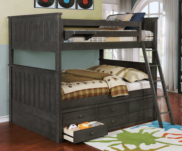 Allen House Brandon Full over Full Bunk Bed Weathered Dark Gray