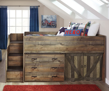 Trinell Low Loft Bed with Dresser and Fort