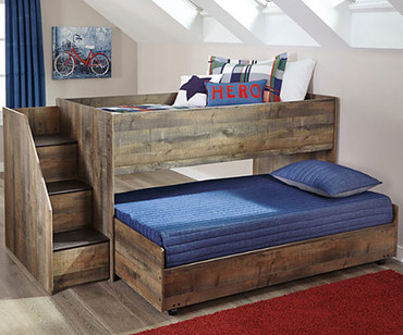Trinell Low Loft Bed with Loft Caster Bed