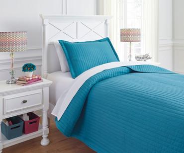 Braston Bedding Set Turquoise Twin Size