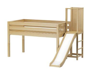 Maxtrix HOCUS Low Loft Bed with Slide Platform Twin Size Natural