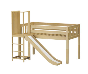 Maxtrix POCUS Low Loft Bed with Slide Platform Twin Size Natural