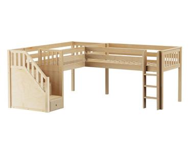 Maxtrix FLIPFLOP Corner Low Loft Bed Twin Size Natural