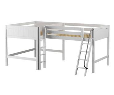 Maxtrix BOTH Corner Mid Loft Bed Full Size White