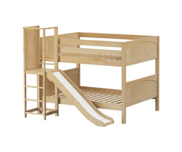 Maxtrix CHANT Low Bunk Bed with Slide Platform Full Size Natural