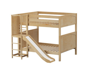 Maxtrix EMPIRE High Bunk Bed with Slide Platform Full Size Natural