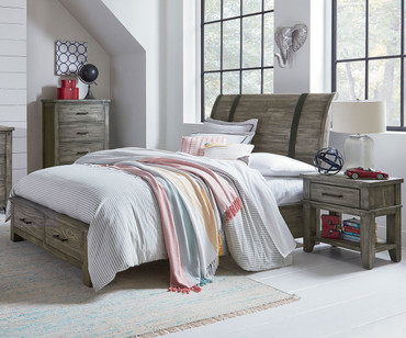 Nelson Storage Sleigh Bed Full Size Grey