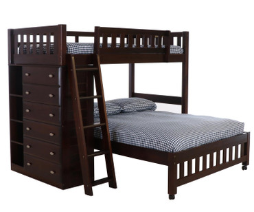Espresso Twin over Full Loft Bed