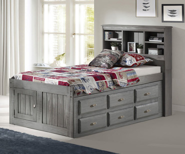 Westport Gray Twin Bookcase Captains Bed