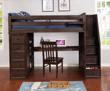 Allen House Study Loft Bed with Stairs Twin Size Weathered Espresso