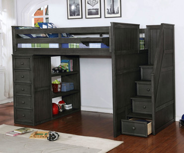 Allen House  Loft Bed with Stairs Full Size Weathered Dark Gray