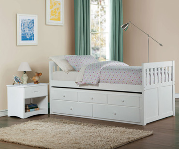 Stanford Captains Trundle Bed White
