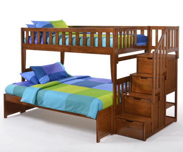 Crestwood Twin over Full Bunk Bed with Stairs Cherry