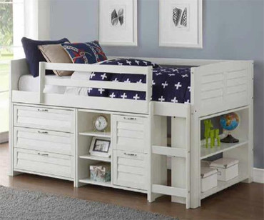 Amherst  Low Loft Bed with Chests and Bookcase White