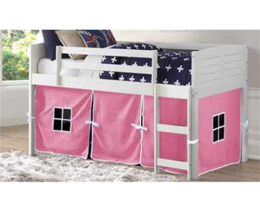 Amherst Low Loft Bed with Pink Tent White