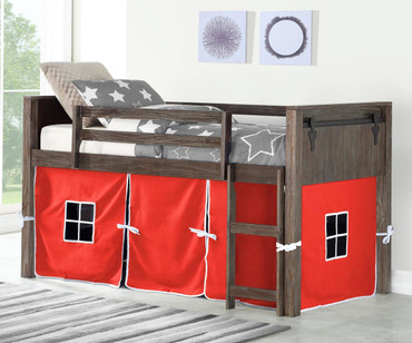 Barnum Low Loft Bed with Red Tent