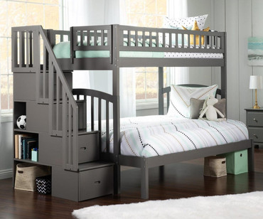 Westbrook Stair Bunk Bed Twin over Full Grey