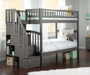 Westbrook Stair Bunk Bed Twin over Twin Grey