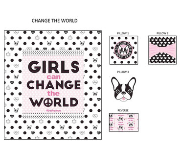 Girls Change the World Decorative Pillows Set